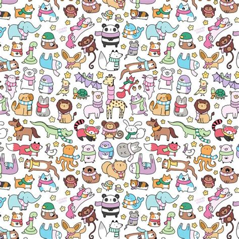 doodle scarf pattern winter animals with scarves doodle art print doodles