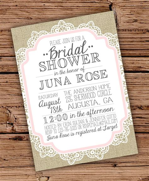 burlap and lace vintage bridal shower baby shower invitation shower invitations showers and