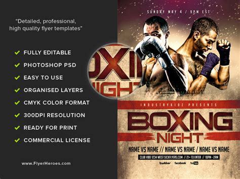 Boxing Night Flyer Template Flyerheroes Boxing Templates Free