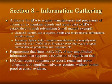 section 8 information ppt introduction to tsca powerpoint presentation id 367631