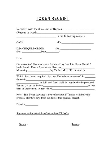 Token Receipt for advance rent format   Receipt   Payments