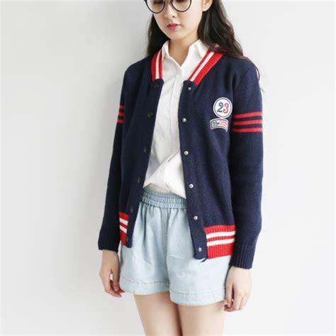 Look Korean Jaket Baseball Brown jacket baseball fall winter casual blue fashion style