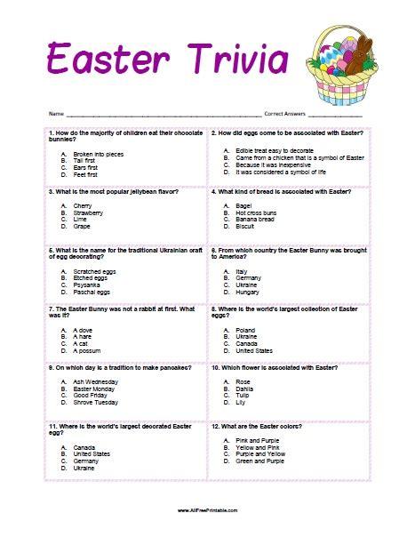 printable quiz trivia easter trivia free printable allfreeprintable com
