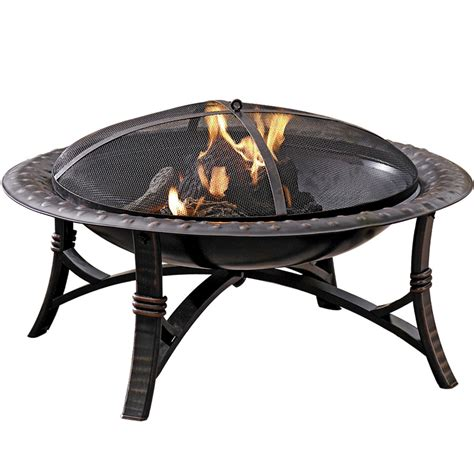 Lowes Outdoor Firepit Shop Garden Treasures 35 In W Black High Temperature Painted Steel Wood Burning Pit At