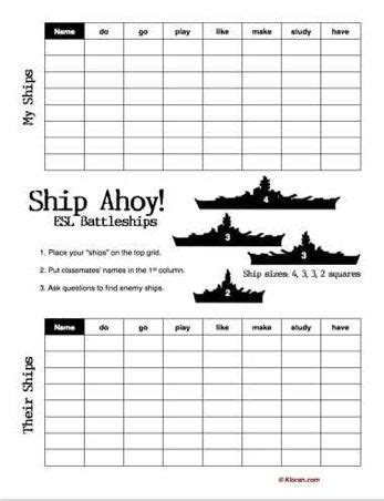 printable battleships puzzle 17 best images about board games on pinterest esl fun