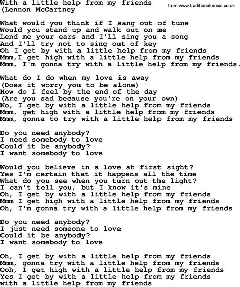 with lyrics with a help from my friends by the byrds lyrics