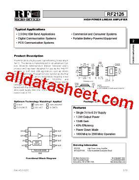 datasheet of rf diode rf2126 datasheet pdf rf micro devices