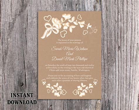vintage rustic diy wedding invitation template diy lace wedding invitation template editable word file