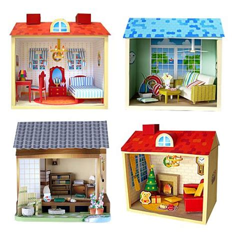 24 mini papercraft dollhouses