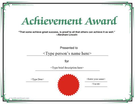certificate templates for achievement award special certificates achievement award