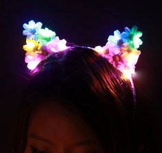 Blue Led Light Up Flower Cat Ears With Pearlkitty By