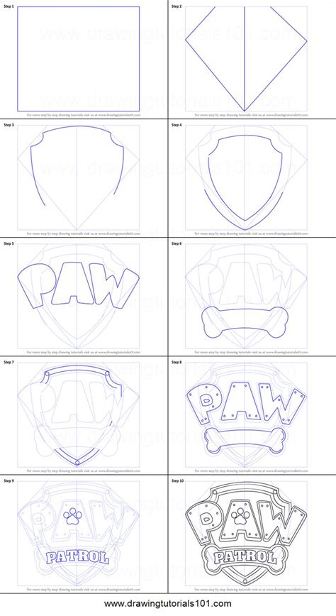 How To Draw Paw Patrol Badge Printable Drawing Sheet By Drawingtutorials101 Com Cake Ideas Paw Patrol Badge Template Printable