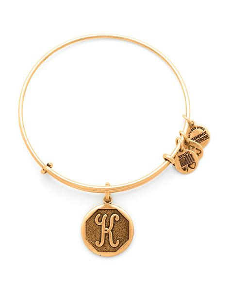 alex and ani initial bangle in gold k lyst