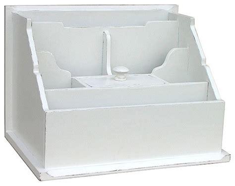 Trade Winds Furniture White Cottage Desktop Organizer Desk Top Organizer Hutch