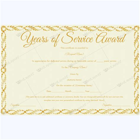 years of service award certificate templates 89 award certificates for business and school events
