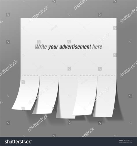 tear tabs template blank advertisement with tear tabs vector 65381725