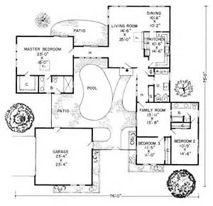 House Plans With Courtyard Pools by Central Plaza House Plan