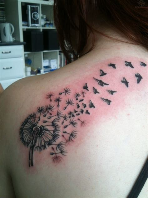 back of shoulder tattoo colored dandelion back shoulder