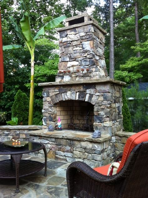 outdoor rock fireplace outdoor fireplace kit traditional landscape