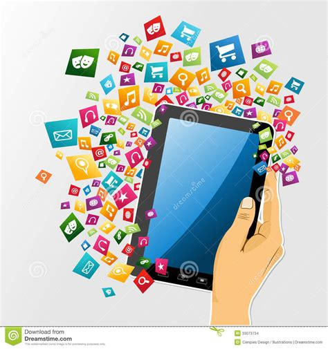 design by humans app human hand digital tablet pc app icons stock images