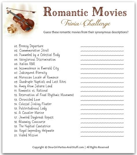romantic movie quotes valentine printables bren did romantic movies valentine game trivia romantic and