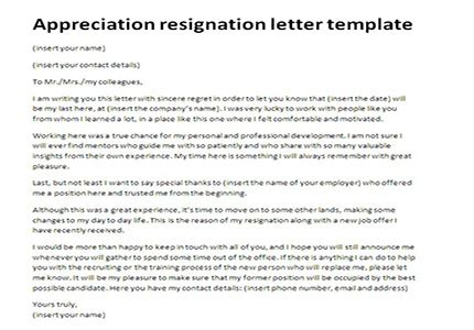 Appreciation Resignation Letter Template Just Letter