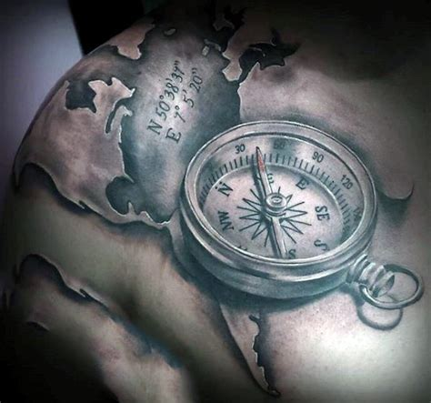 3d tattoo world map amazing detailed 3d like compass with map and coordinates
