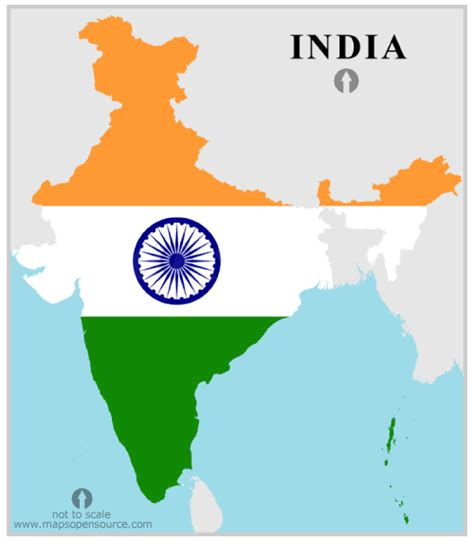 India Outline Map Coloured by India Country Profile Free Maps Of India Open Source Maps Of India Facts About India