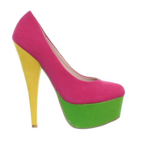 womens high heel pink bright colour block stiletto