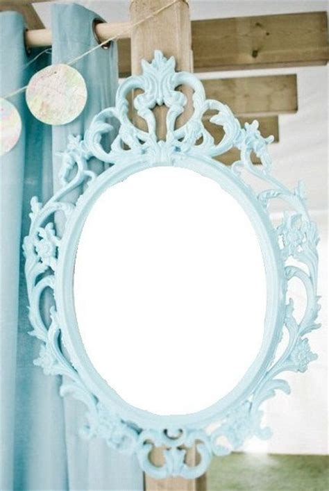 aqua blue turquoise tiffany blue vintage style mirror oval round shabby chic hanging wall ornate