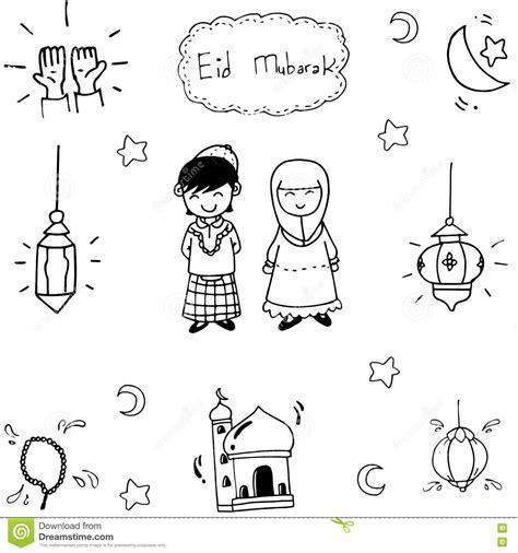 doodle islamic doodle vector muslim eid mubarak stock vector image