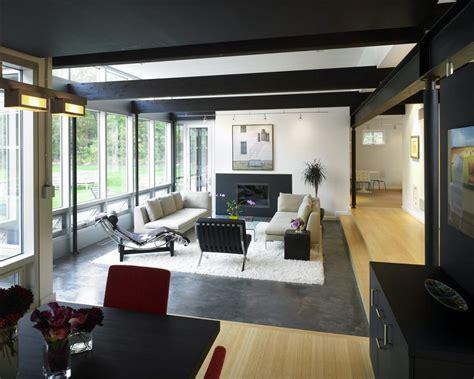 living room i black painted steel beam in the living room