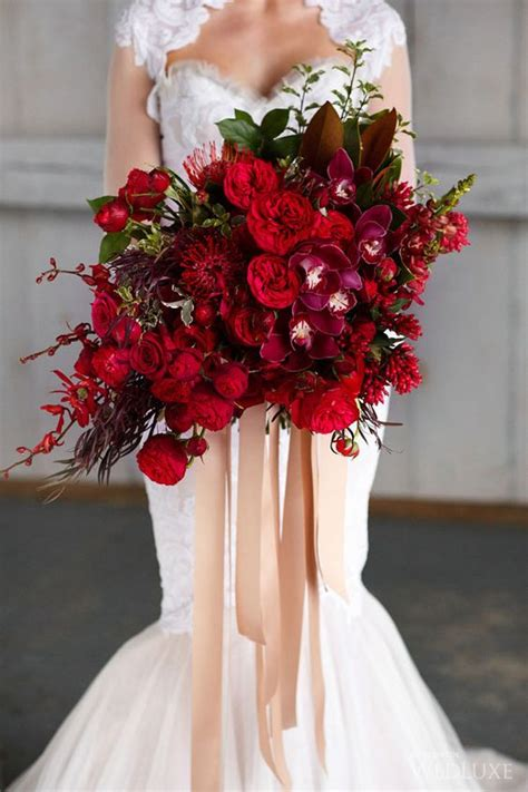wedding wednesday deep red bouquets flirty fleurs