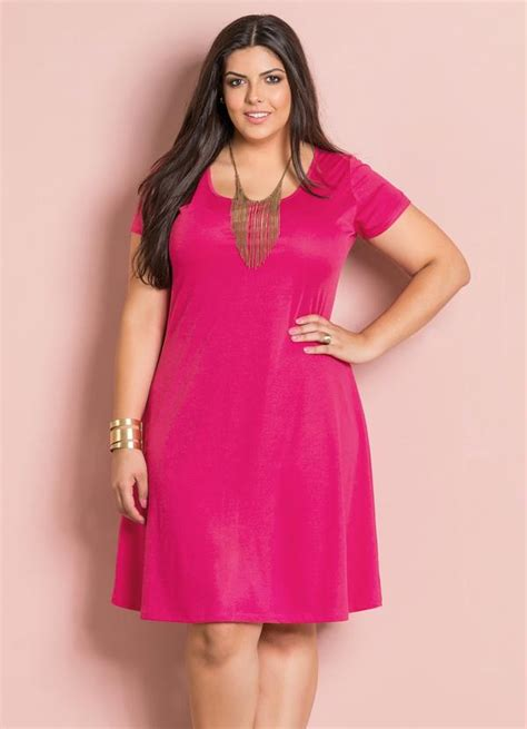 imagenes html size vestido evas 234 decote redondo pink plus size posthaus