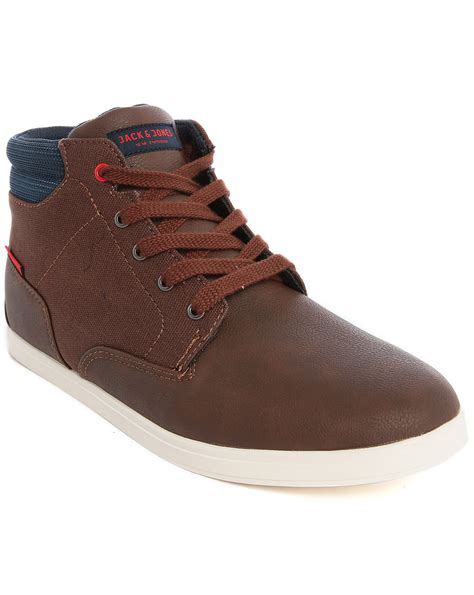 jones jjvaspa brown dual fabric high top canvas
