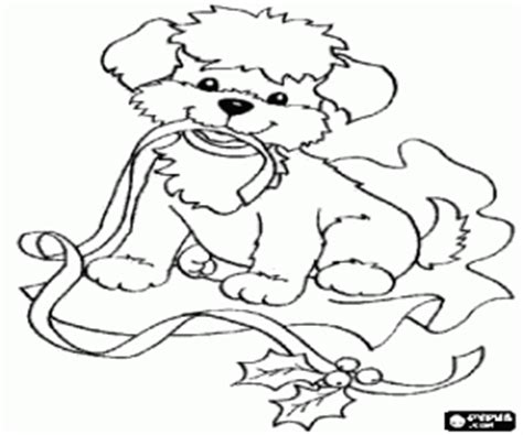 Animals In Christmas Coloring Pages Printable Games Coloring Pages Puppy And Ribbon