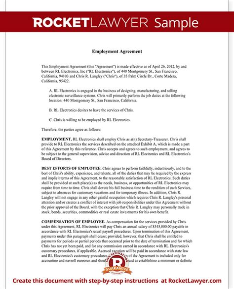 ceo contract template executive employment agreement contract template with sle