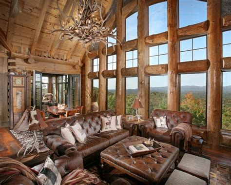 Houses With Big Windows Decor Turkey Lodge Traditional Living Room Atlanta By Modern Rustic Homes