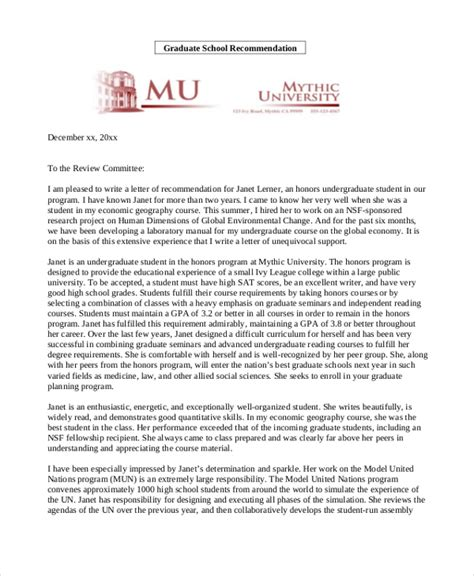 Recommendation Letter For A Prospective Graduate Student Academic Recommendation Letter School Recommendation Letter Here Is A Sle Recommendation