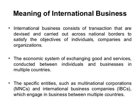 International Business In Mba Means by Ppt On International Trade Or Business