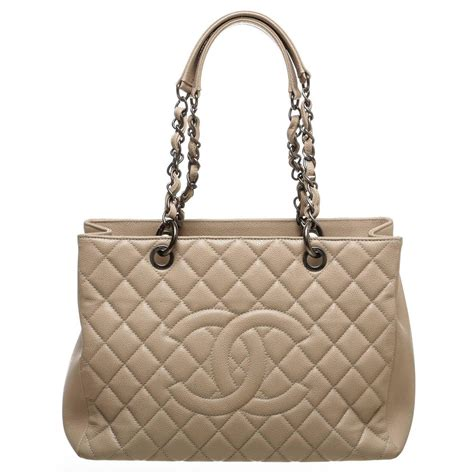 New Chanel Grand Shopper Tote Gst Leather 9931 chanel beige quilted caviar leather grand shopper tote gst handbag at 1stdibs