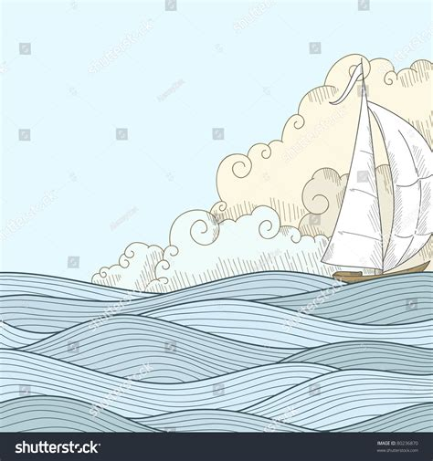 how to draw a boat in the sea retro hand draw styled sea with clouds and sailor boat