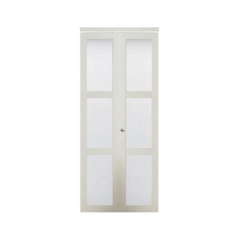 Glass Bifold Closet Doors Truporte 24 In X 80 In 3080 Series 3 Lite Tempered Frosted Glass Composite White Interior