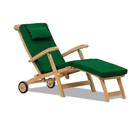 Teak Steamer Chair by Halo Teak Steamer Chair With Wheels Brass Fittings Cushion
