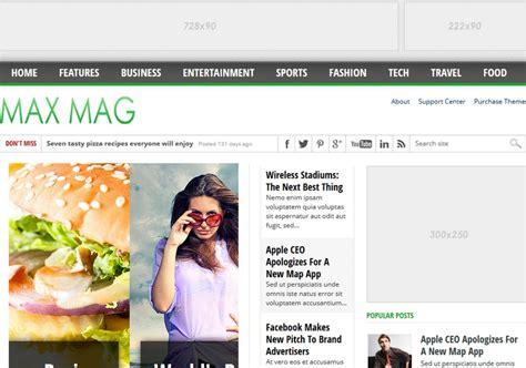 blog themes with ad space max mag 3 columns blogger template free graphics free