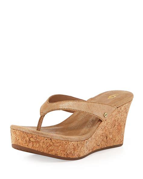wedge sandal ugg natassia cork wedge sandal gold washed in gold