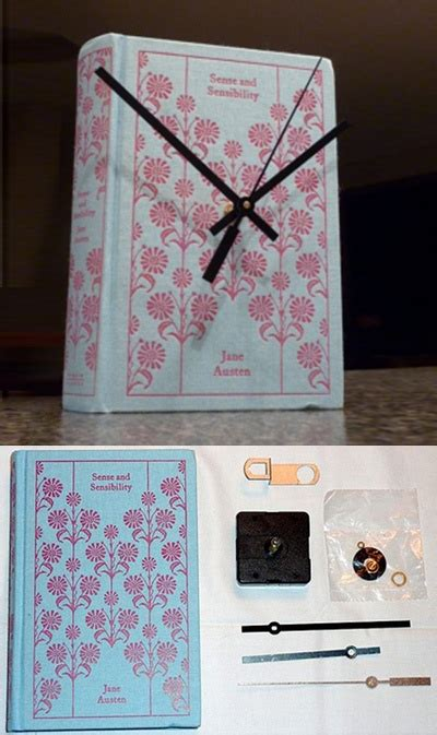 repurpose a vintage old book into a working clock by