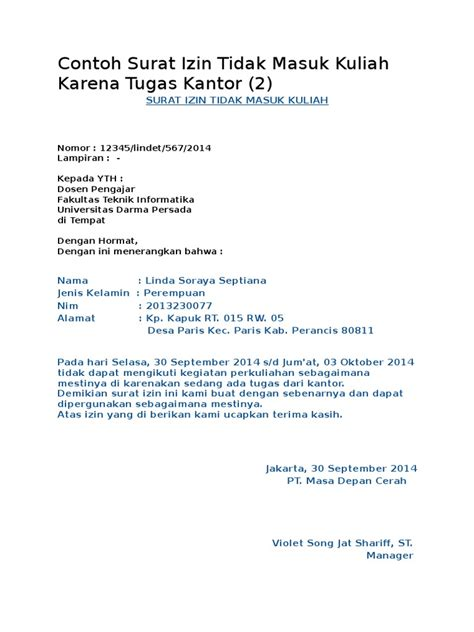 Contoh Surat Izin Tidak Masuk Kantor contoh surat izin tidak masuk kuliah karena tugas kantor