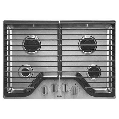 gas cooktop btu whirlpool 30 in gas cooktop in stainless steel with 4
