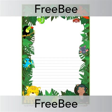 lined paper with rainforest border rainforest writing frame planbee freebees